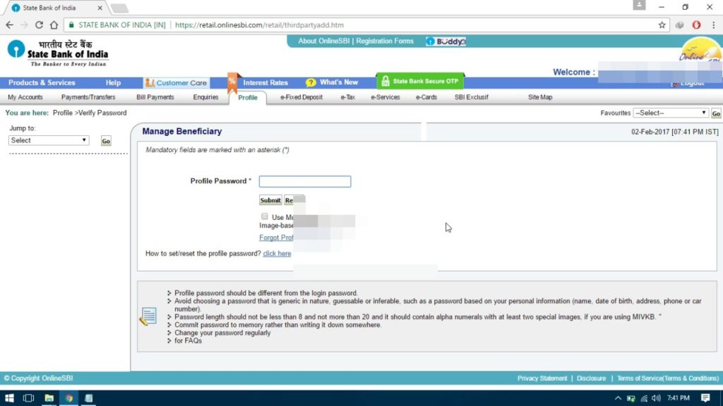 how to add account in netbanking